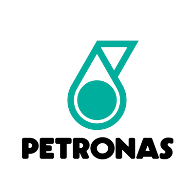 Petronas logo with black text and green and white motif..