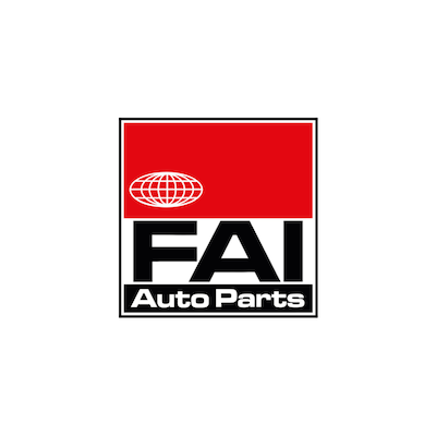 FAI auto parts brand logo with black and white text on red, white, and black background.