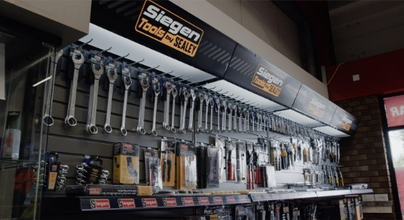 Siegen tools by Sealey display stand in HBA Powerstore.